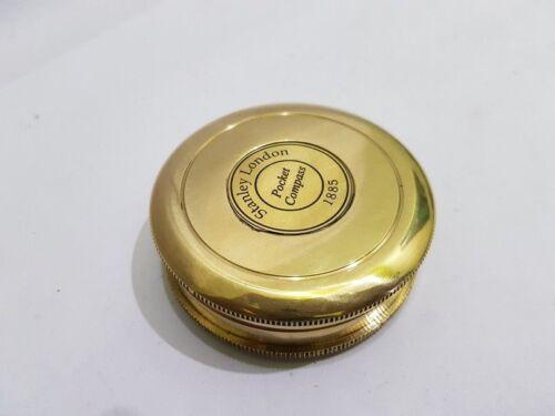 Brass Poem Stanley London 1885 Compass Nautical Pocket Compass