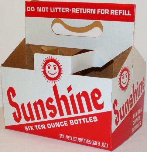 Vintage soda pop bottle carton SUNSHINE with smiley sun new old stock n-mint