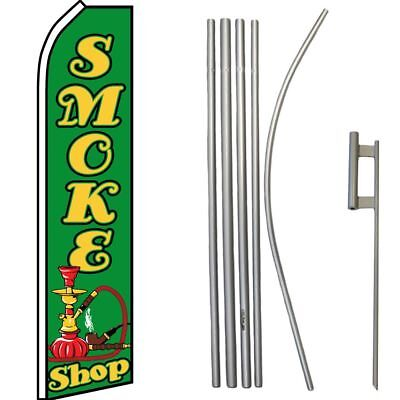 "/""SMOKE SHOP/"" super flag swooper grn"