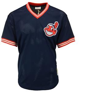 Mitchell-amp-Ness-Navy-MLB-Cleveland-Indians-Joe-Carter-1986-Mesh-BP-Jersey