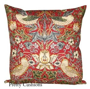 William Morris Cushion Cover Red Strawberry Thief  Floral Birds Printed Fabric