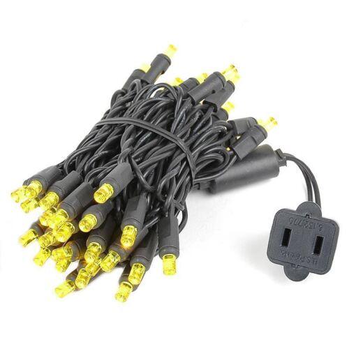 Warm White 11' Patio Lights 50 Light LED Christmas Mini Light Set Black Wire