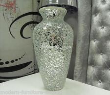 SILVER MIRRORED ART DECO MOSAIC  VASE, CRACKLE GLASS V NECK VASE