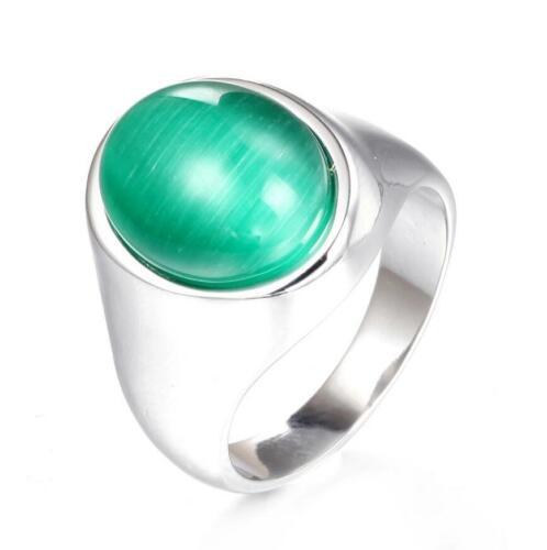 Fashion Men/'s Stainless Steel Agate Ring Retro Punk Onyx Wedding Band Size 7-12