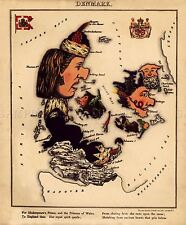 MAP ANTIQUE CARICATURE HARVEY 1868 DENMARK OLD LARGE REPRO POSTER PRINT PAM0731