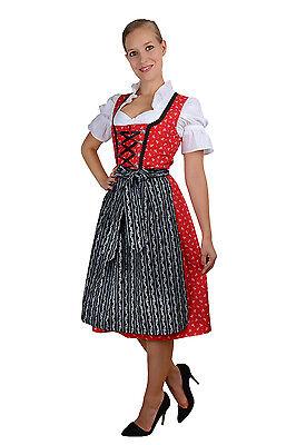 Midi Dirndl rot schwarz mit weißen Streublümchen