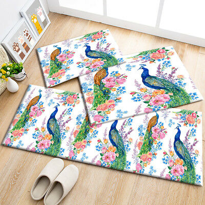 Chinese Painted Peacock Floor Mat Area Rugs Bedroom Carpets