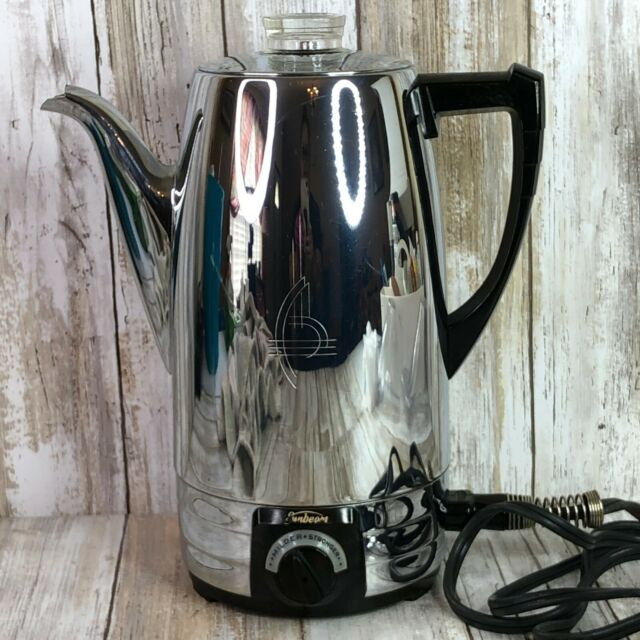 Vintage Sunbeam Chrome Black Coffee Maker Percolator Mid ...
