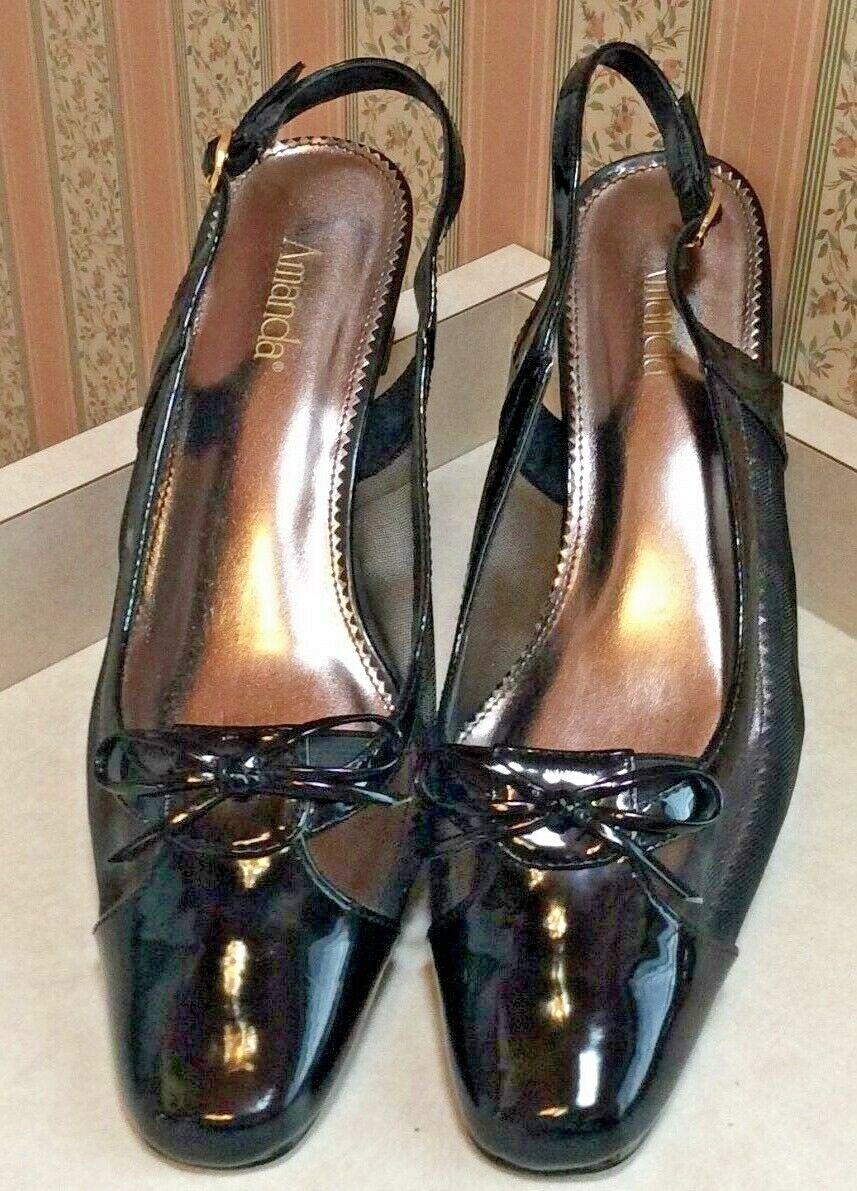 Womens Black Heels Amanda, SlingBack , Womens Dress Shoe, 8 1/2 M (B)