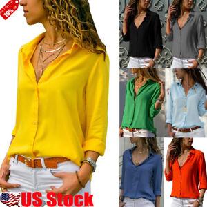Women-Long-Sleeve-V-neck-Loose-Tops-T-Shirt-OL-Ladies-Plain-Casual-Button-Blouse