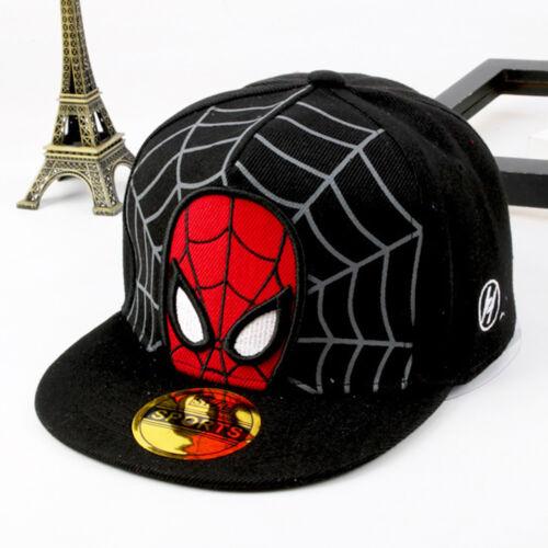 Kids Boys Spiderman Baseball Caps School Nursy New Snapbacks Flat Brim Sun Hats