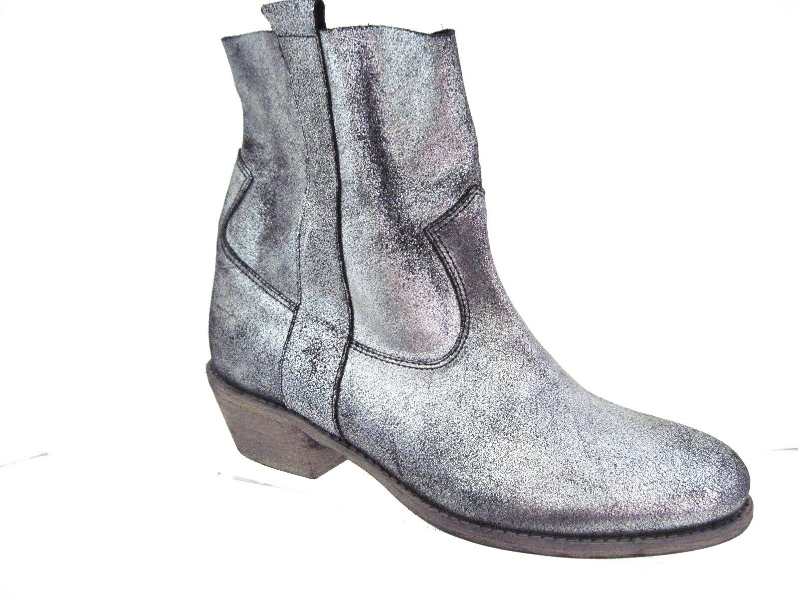 CHARLES DAVID Rare Crackled Silver Leather DAPPER Boots Size 7 Italy