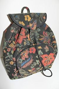 true vintage canvas rucksack mit blumen tasche vtg backpack 70er 70s hippie boho. Black Bedroom Furniture Sets. Home Design Ideas