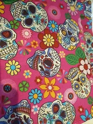 100/% Cotton Poplin Fabric Rose /& Hubble Sugar Skulls Day Of The Dead Material