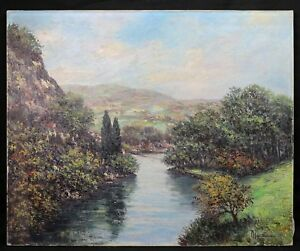 School-French-Signed-Landscape-of-the-Valley-de-L-039-Orne-Normandy-Perch-Argentan