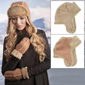 Ladies Womens Faux Sheepskin//Suede /& Fur Trapper Aviator Russian Hat