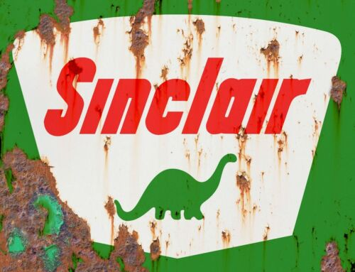 """TIN SIGN /"""" Sinclair Rust/"""" Gas Oil  Signs  Rustic Wall Decor"""