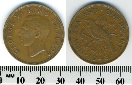 King George VI New Zealand 1943-1 Penny Bronze Coin WWII Tui bird