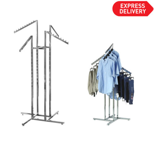 Heavy Duty 4 Way Slope Clothes Rail Shop Display Garment Rack Floor Stand