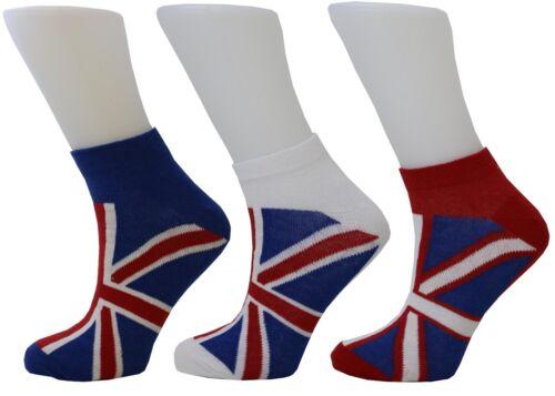 Women/'s Socks Union Jack British Flag Cotton Rich Trainer