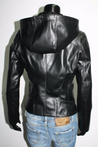 Italian Handmade Leather Jacket Women Hood Xs Black Size Removable p4wqp