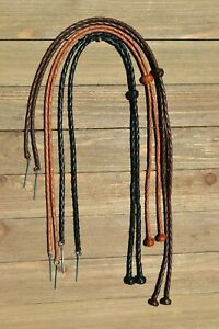 Natural-Braided-Leather-Stampede-String-with-Knots-amp-Cotter-Pin-Assorted-Colors