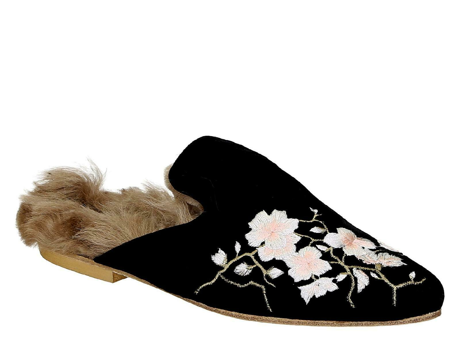 Gia Couture mujer flats fur close slippers zapatos negro velvet