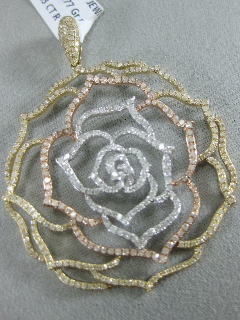 FANCY MODERN PAVE DIAMOND 14K WHITE Y pink gold FLOWER CIRCLE PENDANT  P55678TP7