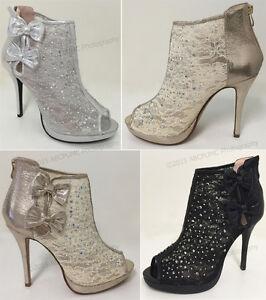 Women-039-s-Ankle-Pumps-Mesh-Lace-Rhinestone-Peep-Toe-High-Heel-Zipper-Party-Shoes