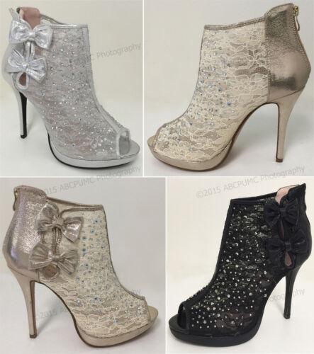 Women/'s Ankle Pumps Mesh Lace Rhinestone Peep Toe High Heel Zipper Party Shoes