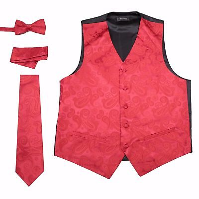 Pink Paisley 4 Piece Set Prom Wedding Fashion Tuxedo Vest Tie TUXXMAN Homecoming