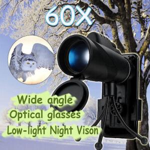 40X60-Zoom-Optical-HD-Lens-Night-Vision-Phone-Monocular-Telescope-Tripod-Clip