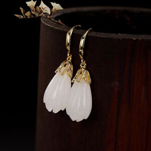 H02-Earring-Silver-925-Gold-Plated-with-Bloom-from-White-Jade-Style-D