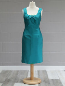 Turquoise-teal-shift-dress-Size-14-LK-Bennett-Silk-blend-Sleeveless-Knee