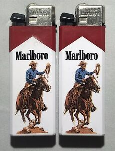 2 USED Vintage Marlboro Disposable Lighters Cowboy on Horse with Lasso
