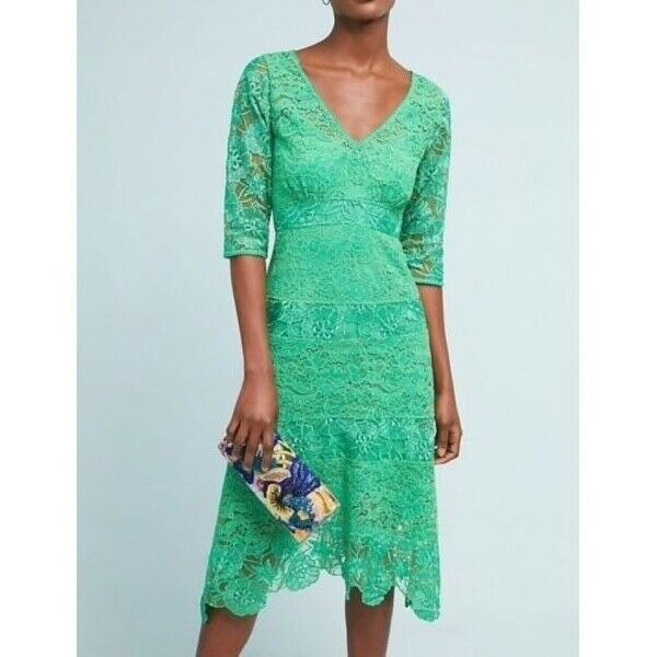 5508f0317102 NWT ANTHROPOLOGY BEAUTIFUL ANGELICA LACE GREEN MIDI DRESS 2 SZ ...