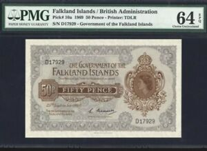 1969-Falkland-Islands-British-Administration-50-Pence-PMG64-EPQ-UNC-P-10a