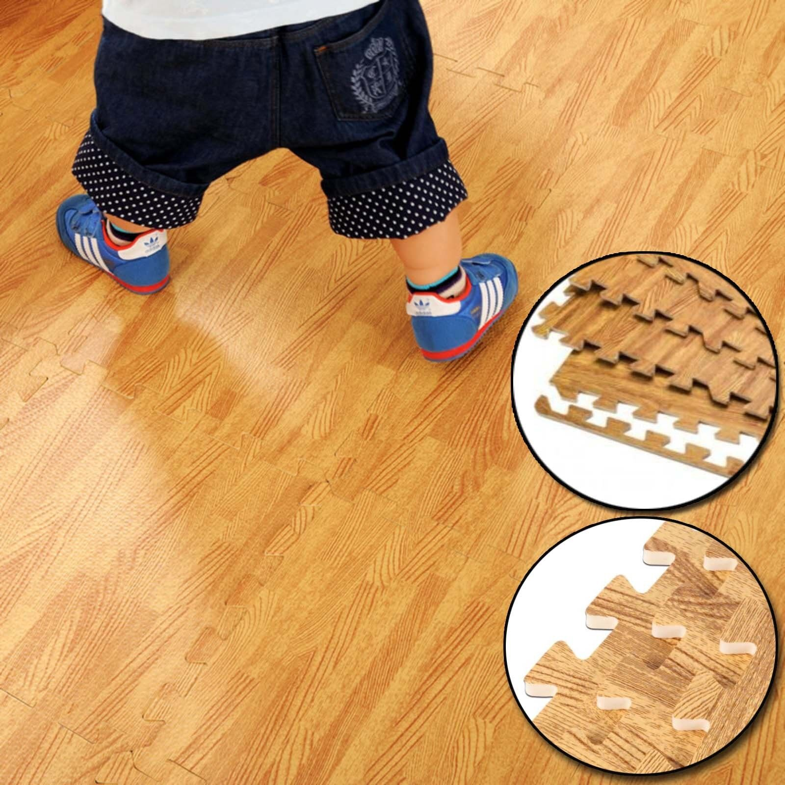Wood Floor Padding Wood Foam Floor: WOOD EFFECT INTERLOCKING GYM PLAY HOME WORKOUT SOFT TILES