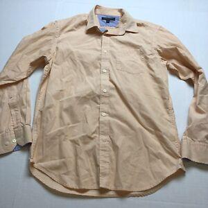 Banana Republic Soft Wash Slim Fit Orange Stripe Button Up Shirt Sz M A1846