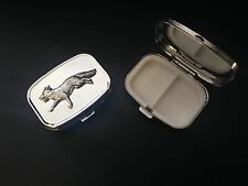 Running Fox A3 English Pewter on Emblem Rectangular Travel Metal Pill Box
