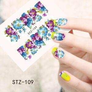 Detalles De Pegatina Flor Efecto Tatuaje Uñas Manicura Nail Art Water Decals Sticker