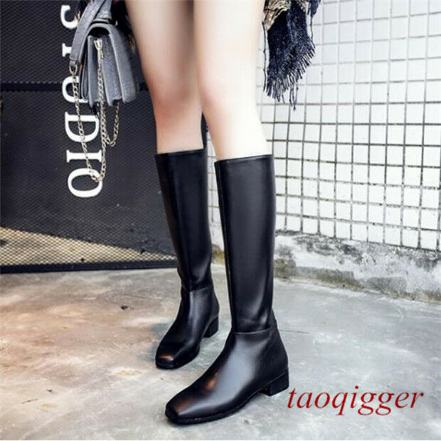 Women Square Toe back zip mid-calf leather boots Motorcycle fashion block shoes
