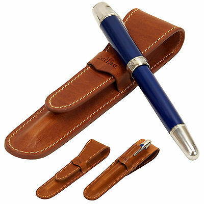 Whole leather Fountain pen case -Crease Browe - single pen holder vintage pencil
