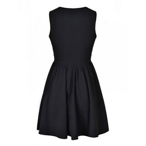 Black-Round-neck-Shirred-Dress