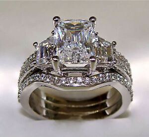 image is loading 3 10ct radiant cut engagement ring with 2 - Matching Wedding Rings