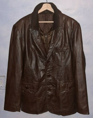 Vintage Leather Blazer Jacket By Excelled
