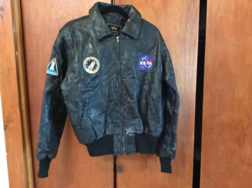 Vintage NASA Alpha Industries Black Leather Bomber