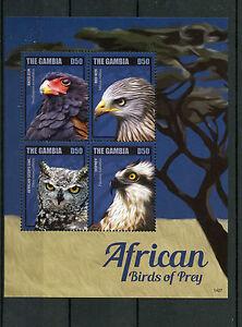 Gambie-2014-neuf-sans-charniere-Africain-Oiseaux-de-proie-II-4V-m-s-bateleur-Osprey-hibou-Kite-rouge