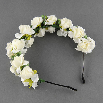 Handmade Floral Crown Rose Flower Headband Hair Garland Wedding Women Headpiece