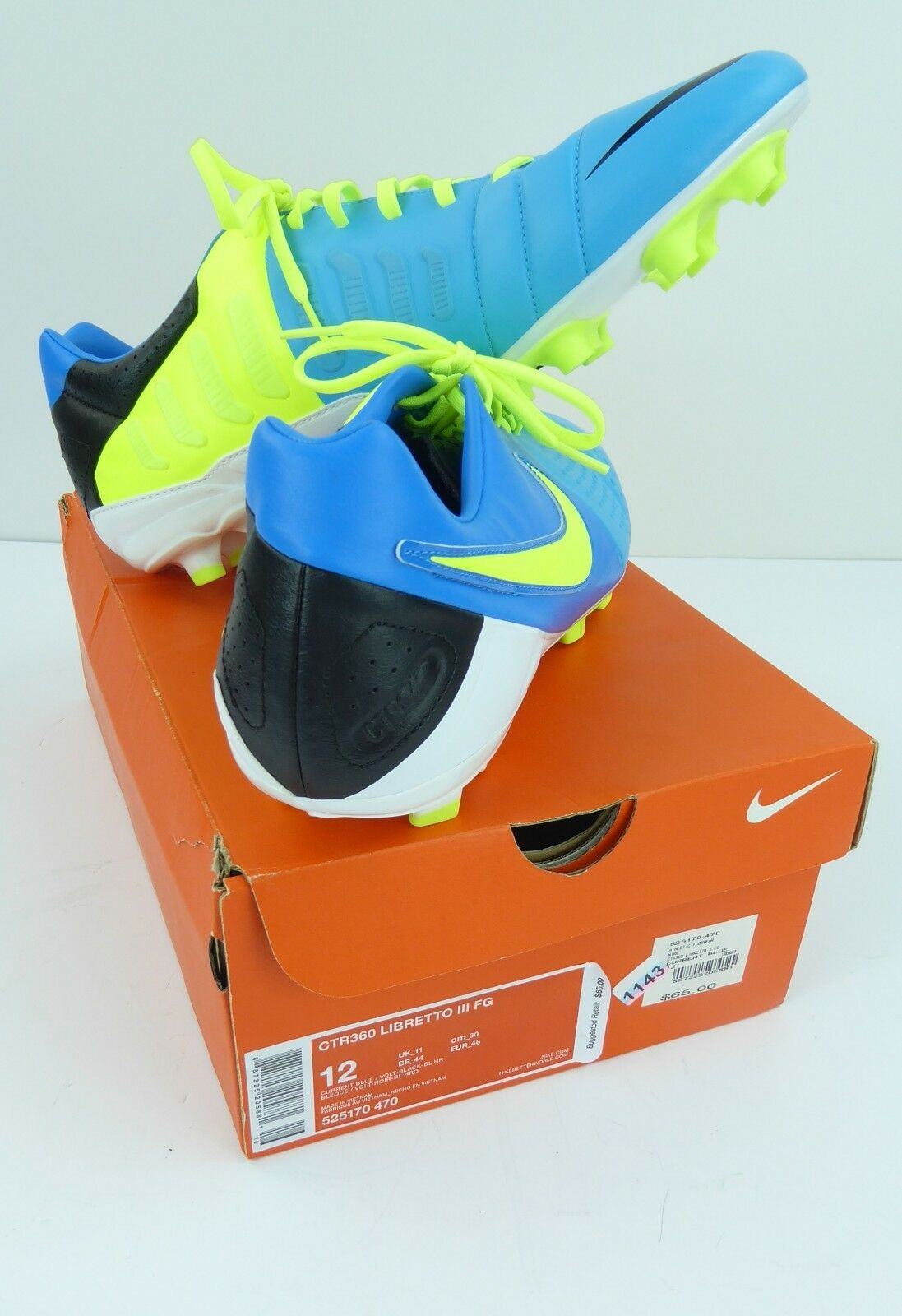 Nike Soccer shoes Libretto III FG CTR360 Mens Sz Sz Sz 12 Current bluee New Open Box 41617c